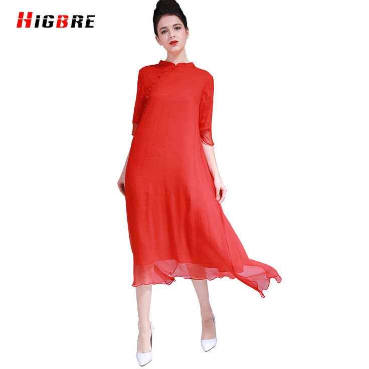Summer 2017 Ladies Cheongsam Chinese Style Dress A-line Plus Size Long Stand Neck Red Silk Dress Is Natural Silk Dresses 100/100