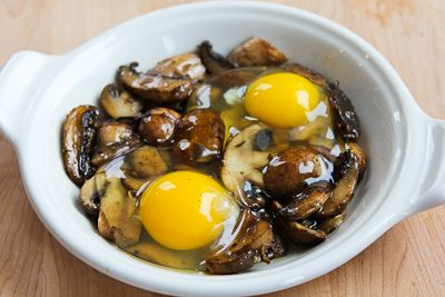 Recipe for Baked Eggs with Mushrooms and Parmesan from Kalyn's Kitchen