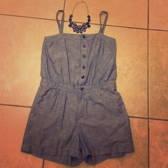 Blue jean Romper jumpsuit shorts spaghetti strap Like new. Wider hips! Buttons & Pockets too! GAP Pants Jumpsuits & Rompers