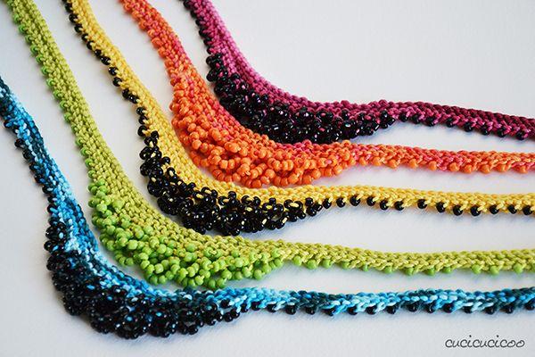 Collane a maglia con perline nei colori dell'arcobaleno - Cucicucicoo
