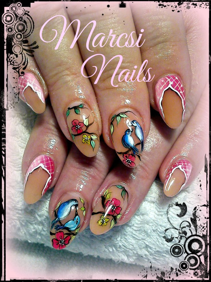 Bird nail art design, bird nail, handmade acril painting, colorful nail art with bird