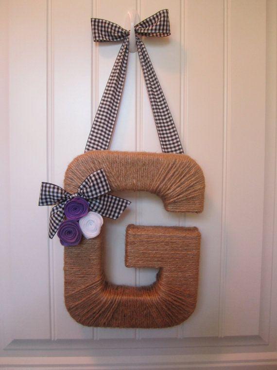 Monogram Wreath. Jute Letter Wreath. Book by EmbellishedLiving