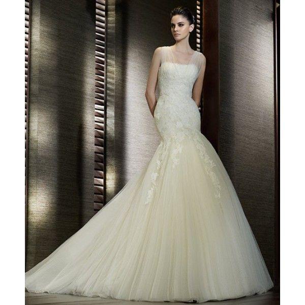 lace designer wedding dresses | Buy Organza Lace Mermaid Chapel Train Elegant Designer Wedding Dress ...