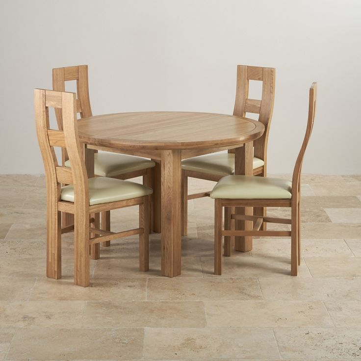 Knightsbridge Natural Solid Oak Dining Set Round Extending Table With 4 Wave Back And Cream Leather Chairs Bevel By Range