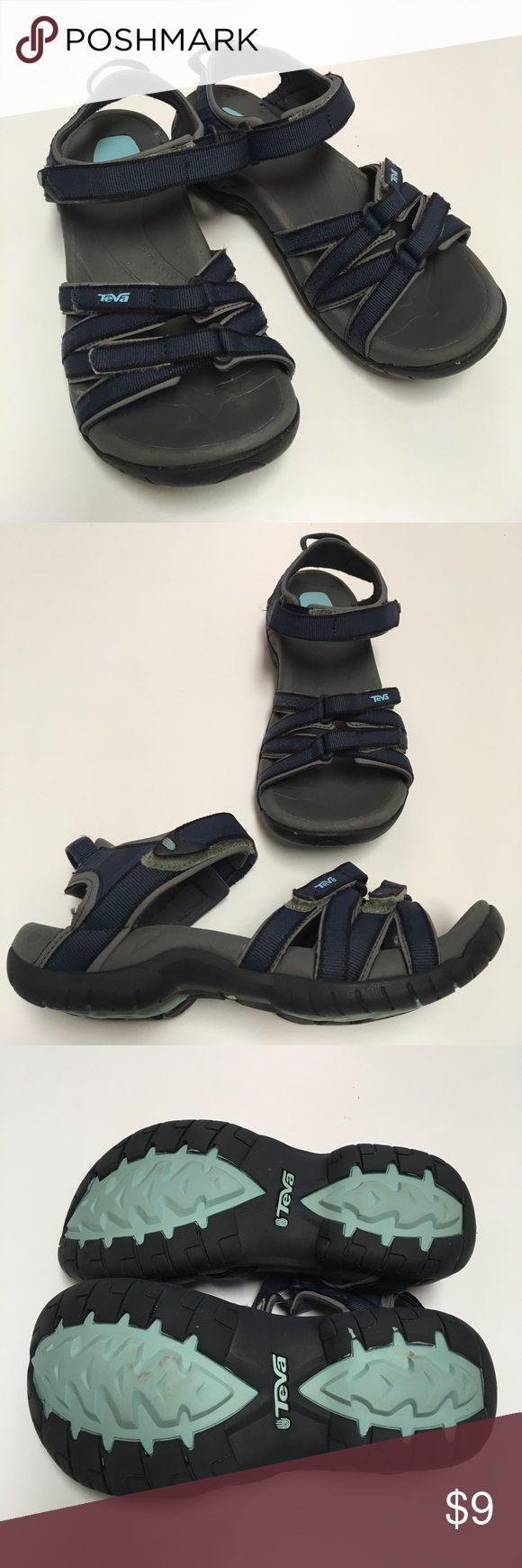 Teva Tirra Women's Active Sandals Hiking, Camping Size 8.5?  That's my size 9.5 foot in sandal. Price low because of condition issues. See pictures. I took pictures of all the flaws. Loosing the grey coating on the back of one shoe. Scuff in rubber by toes. Has some fuzzing of straps where Velcro rubbed it. Tips of straps were glued down. They don't come stitched all the way to the tip when you buy them. Super comfortable. Lost size tag. Teva Shoes Sandals