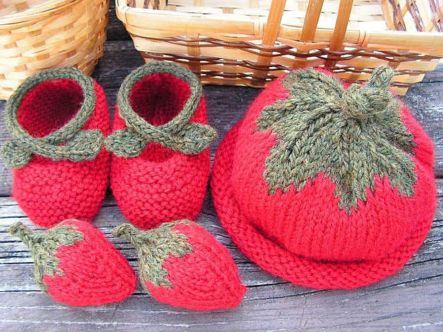 Intarsia Knitting Patterns For Children : strawberry knit hat, booties baby set - all free knitting patterns Knitting...