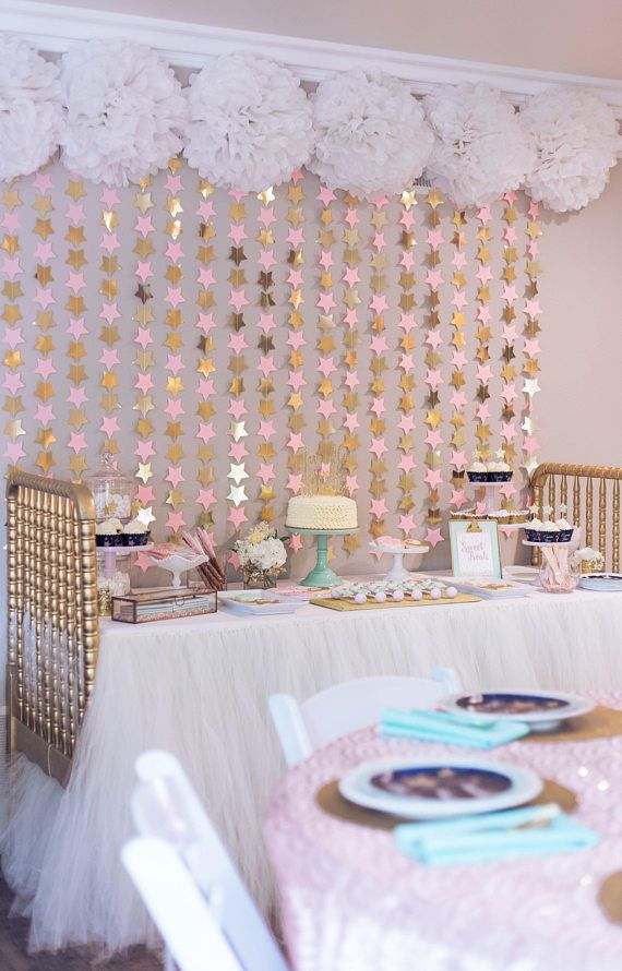 Pink and gold star BACKDROP- nursery star wall hanging / star mobile / twinkle twinkle little star party / star party backdrop / star mobile