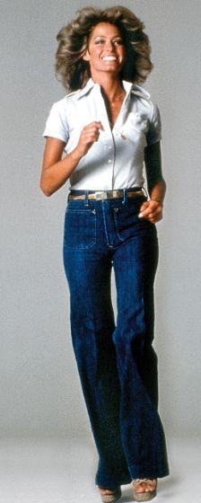 Farrah Fawcett in pack pocketed 70s style jeans #StyleIcon #PlentyInspiration
