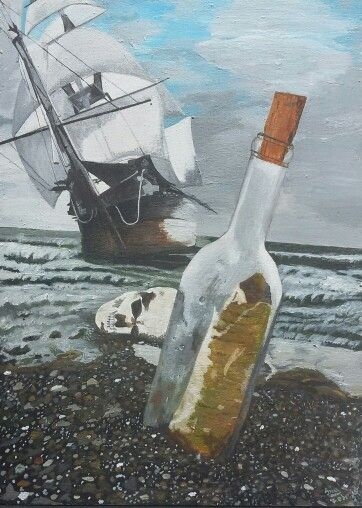 My painting - Ship and bottle