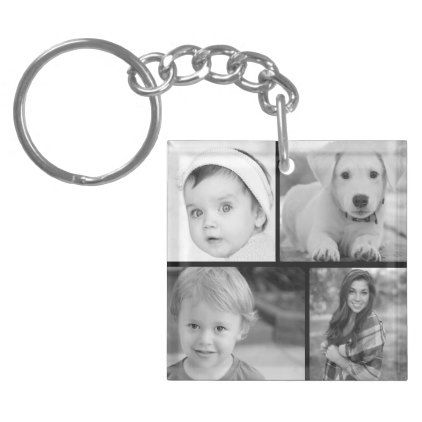 Family Photo Collage Keychain - photo gifts cyo photos personalize