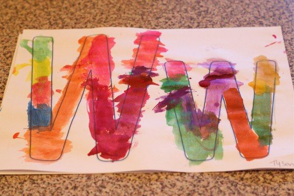 "learning the letter ""W"" with watercolor paint"