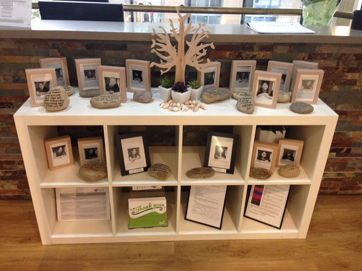 "North Sydney's belonging tree display shares photos of the team & a quote or statement telling what inspires them in early childhood - from Only About Children ("",)"