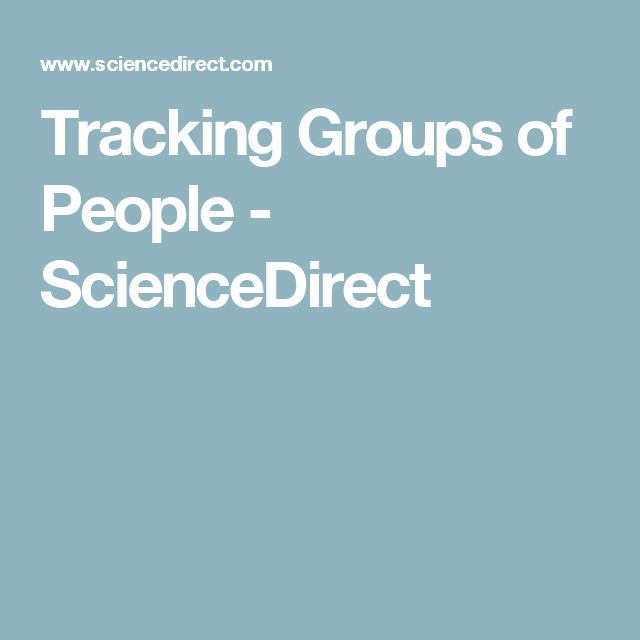 Tracking Groups of People - ScienceDirect