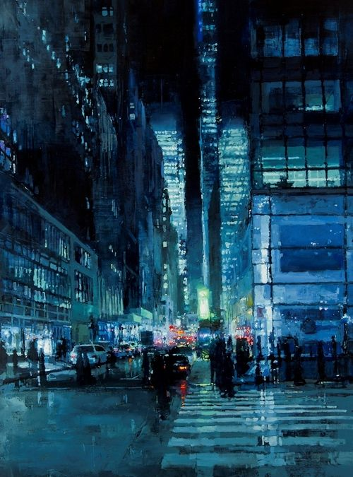 Jeremy Mann: oil> beautiful! I love the colors and light. Looks so amazing. I wonder if they painted onto a white or black canvas