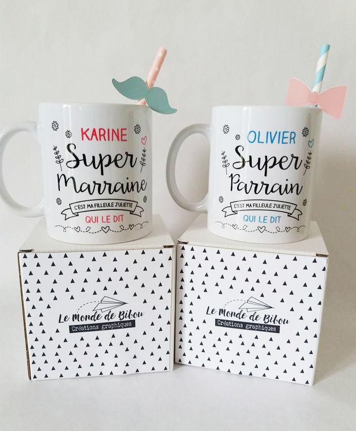 2 mugs personnalisés pour le super parrain et la super marraine de votre enfant. Mugs cadeaux personnalisés à offrir. Cadeau créateur