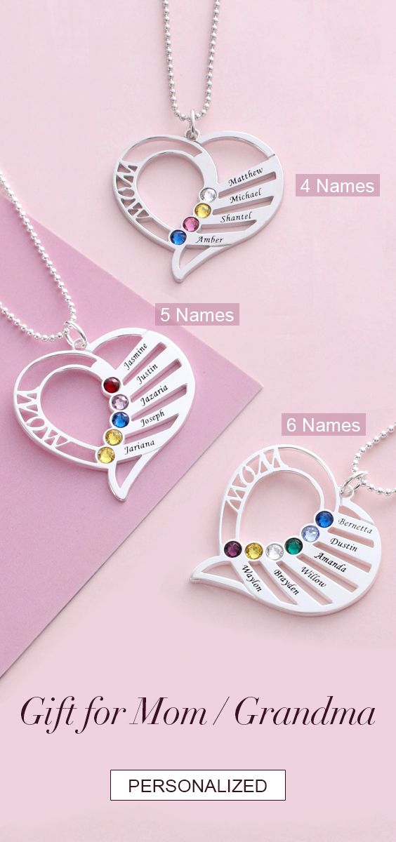 Personalized Heart Birthstone Necklace for Mom/Grandma