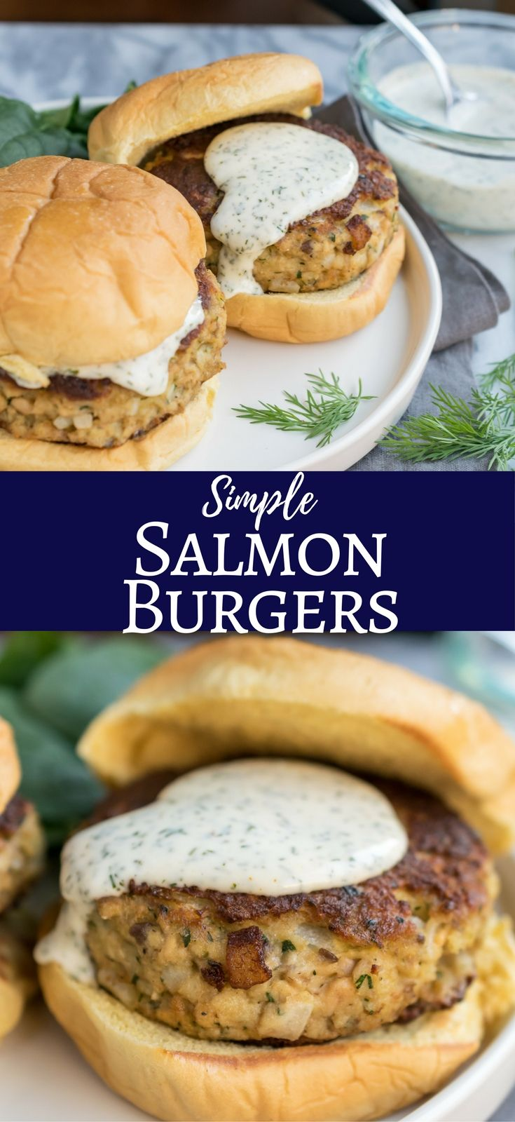 Burgers made with Salmon and sweet Vidalia onions then topped with a lemon and dill mayonnaise. Salmon Burgers. Click now for recipe. www.cooksandkid.com