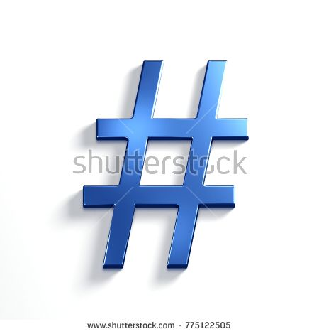 Hash Tag. 3D Render Illustration Isolated. Blue Metallic color