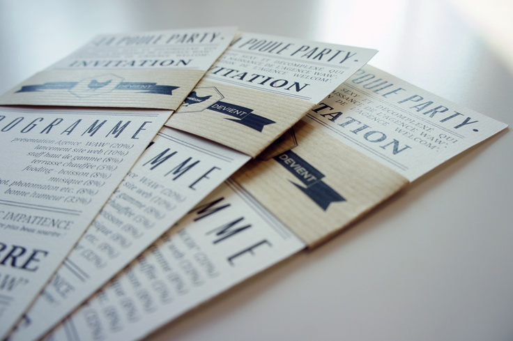 Poule Party. After Work.    design. invitation card.