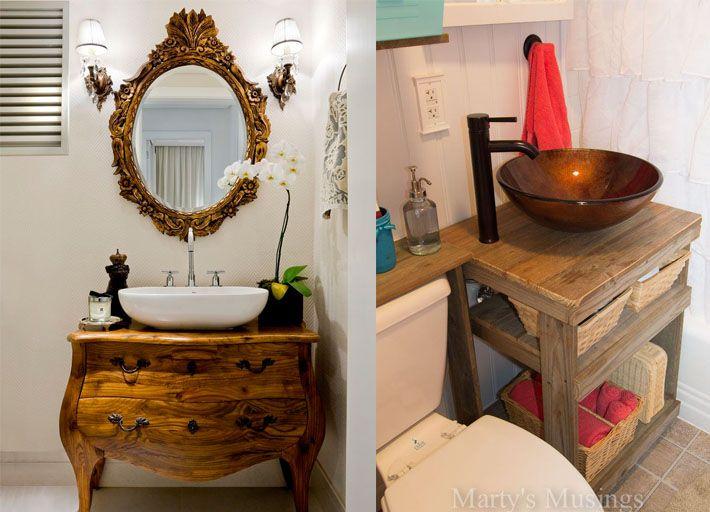 1000+ ideias sobre Banheiro Neutro no Pinterest  Pequenos meio banheiros, La -> Decoracao De Banheiro Estilo Rustico