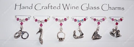 Hen Party Wine Glass Charms, Girly Wine Glass Charms, Hen Party Gifts, Hen Night Charms, Swarovski Crystal Charms