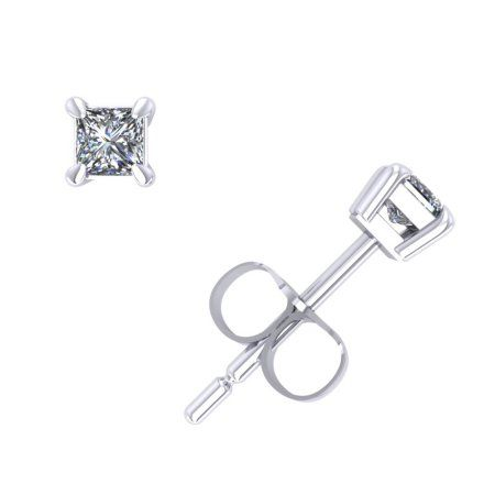781701eba 0.10Ct Princess Cut Diamond Solitaire Stud Earrings 14k White Gold Prong K  I2 #whitediamonds