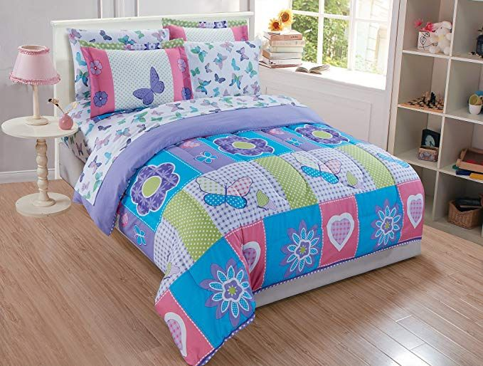 Linen Plus Full Size 7pc Comforter Set For Girls Butterflies