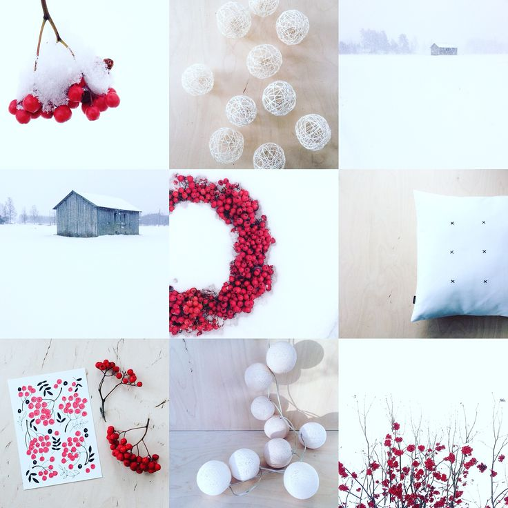 Christmas moodboard. Red and white inspo. Nordic feeling. Winter mood. Snow. This is Finland. By Johanna Sandberg.