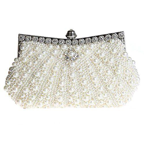 f19413e6eda1 Ainemay Bonjanvye Pearl Clutch Purse For Wedding Beaded Crystal Handbag