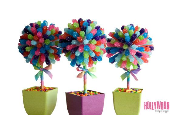 Arco iris caramelo pieza central del Topiary Tree, Candy Buffet decoración, boda arreglo Candy, Mitzvah, fiesta Favor, arte comestible