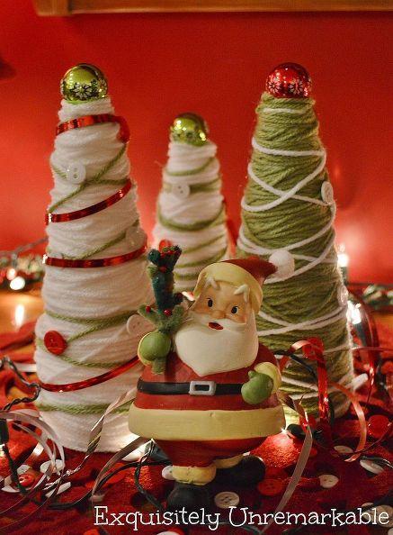 christmas crafting yarn trees, christmas decorations, crafts, seasonal holiday d cor