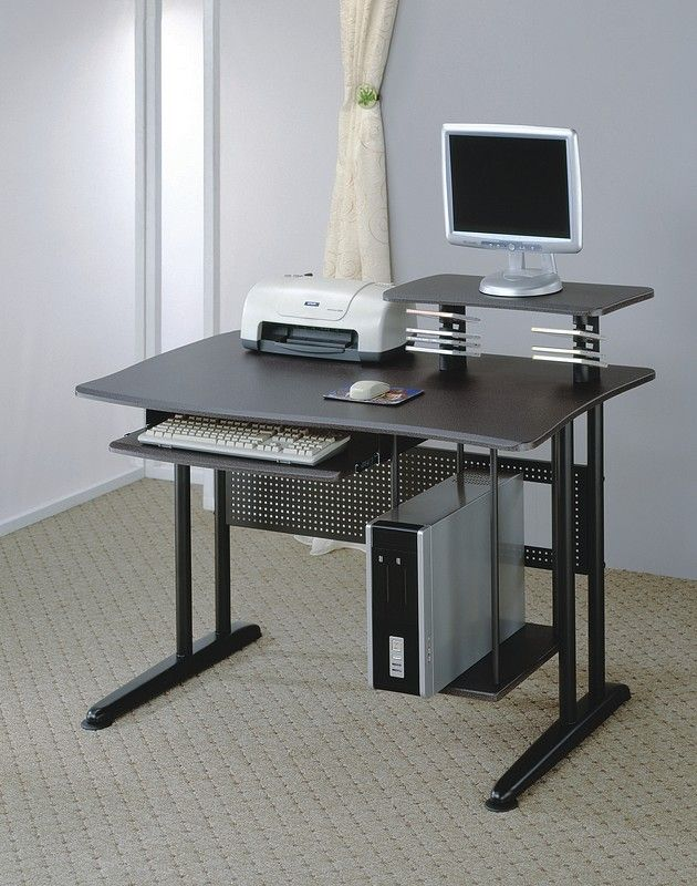 Furniture Outlet, black metal computer desk, marble finish desk top, computer storage, office furniture, Coaster, 800244
