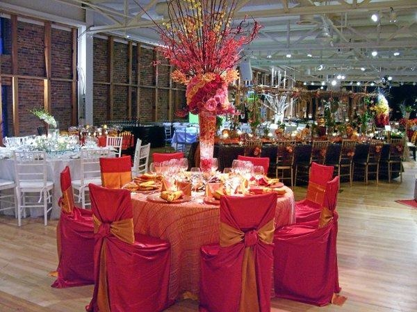 Hot pink and orange together fuschia orange wedding for Table and chair decorations for weddings