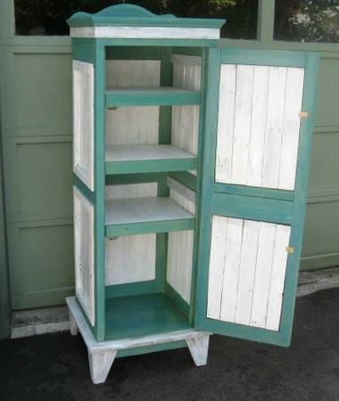 Reclaimed shabby chic cabinet, reminiscent of an antique jelly cupboard. Crafted by a professional carpenter using reclaimed materials. Measures: 56.5 tall, 19.75 wide & 16.75 deep. Lots of room...