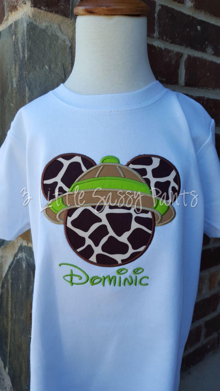 Mickey Mouse Safari Embroidered Shirt Mickey Animal