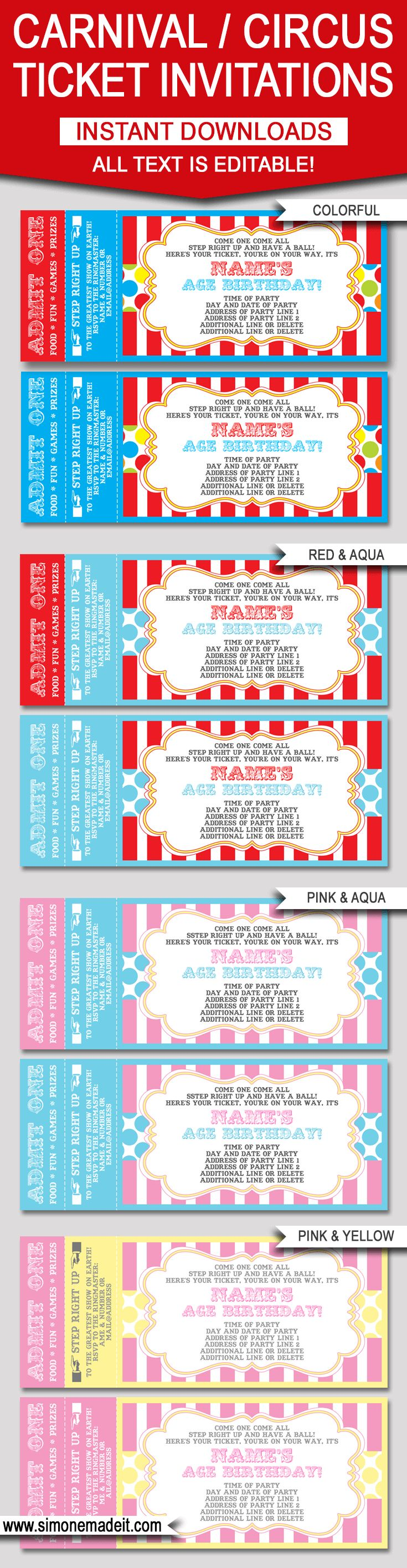 Editable Carnival Ticket Invitations | Editable Circus Ticket Invitations | Birthday Party | Big Top | Editable and Printable Invitation Templates | INSTANT DOWNLOADS $7.50 via simonemadeit.com