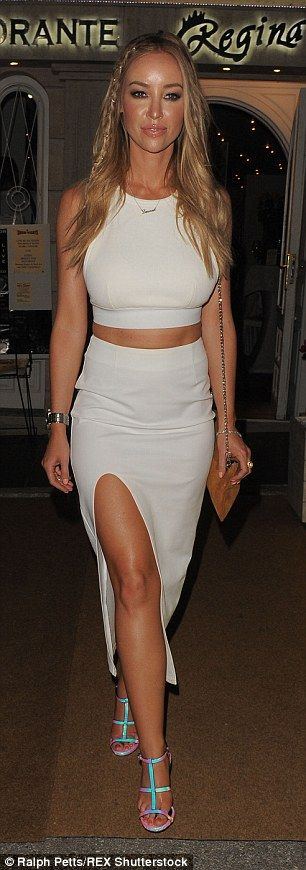 All white: Ferne McCann and Lauren Pope showed off their tans in all white looks as they h...