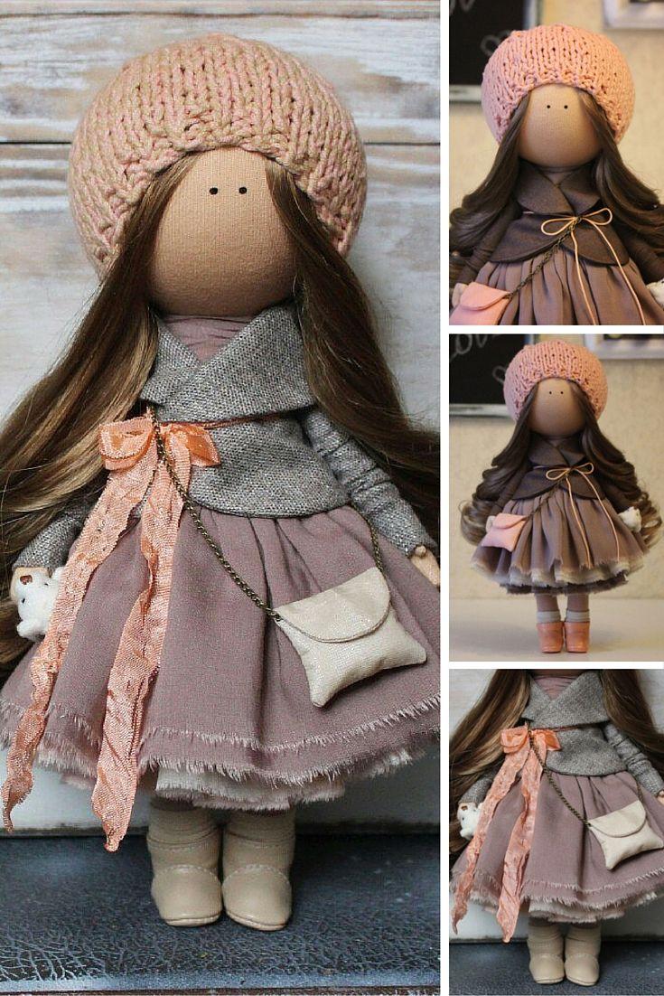 Beauty doll handmade, brown, coral, Fabric doll, Home doll, Rag doll, Decor…