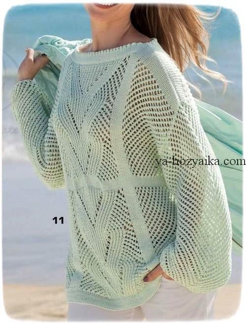 Нежно-зеленый пуловер спицами