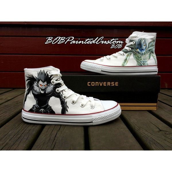 Unisex Converse Anime Sneaker for Sale Hand Painted Custom Made High... ($89) ❤ liked on Polyvore featuring shoes, sneakers, clear sneakers, hi tops, converse trainers, slip-on shoes and slip-on sneakers