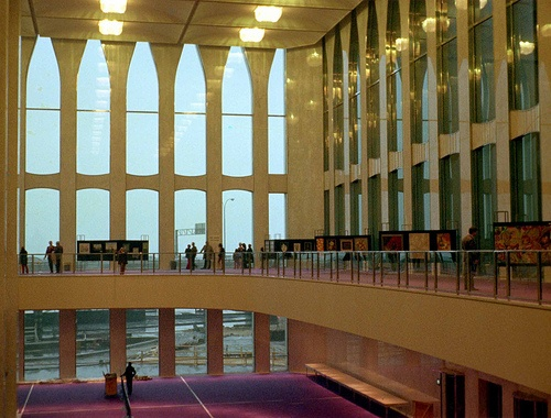 Lobby of the World Trade Center on opening day toward the West Side Highway. March 1973. New York
