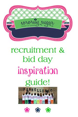 "sorority sugar has a large collection of helpful advice, ideas and inspiration for formal recruitment. Get planning tips, clever sayings and ""how-to"" instructions for lots of rush related projects. Make your recruitment the best that it can be with these inspiring posts! <3 BLOG LINK: http://sororitysugar.tumblr.com/post/126052565954/sorority-sugar-recruitment-bid-day-inspiration#notes"