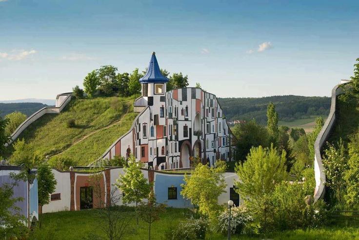Hotel Rogner Bad Blumau, Austria: Badblumau, Friedensreich Hundertwass, Green Roof, Bad Blumau, Underground Home, Art Houses, Austria, Hot Spring, Spa