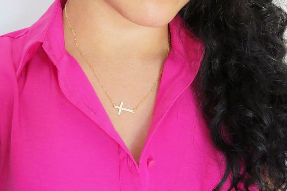 Large Sideways Cross Necklace Large Gold Side Cross by Keepitclose, $27.00
