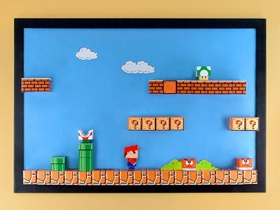 Build a 3-D Super Mario Papercraft Magnet Board. :-)