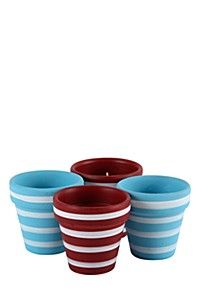 4 PACK STRIPPED WAX FILL POTTED CANDLE