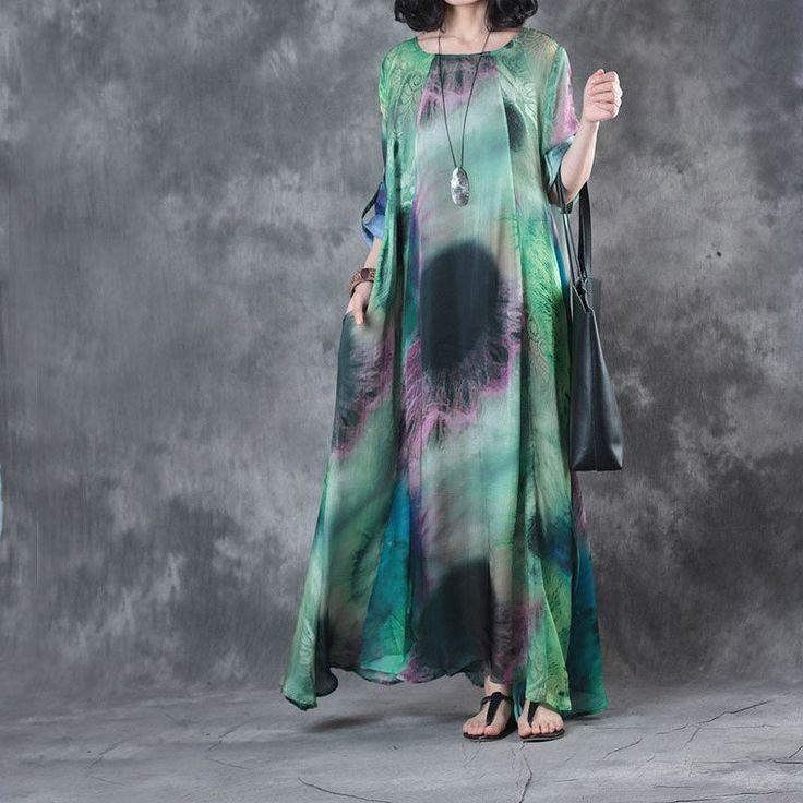 Women Tie Dye Long Tent Silk Dress (PRE-SALE DRESS)