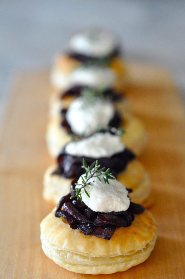 Red Wine Caramelized Onions & Goat Cheese Tartlets with Thyme