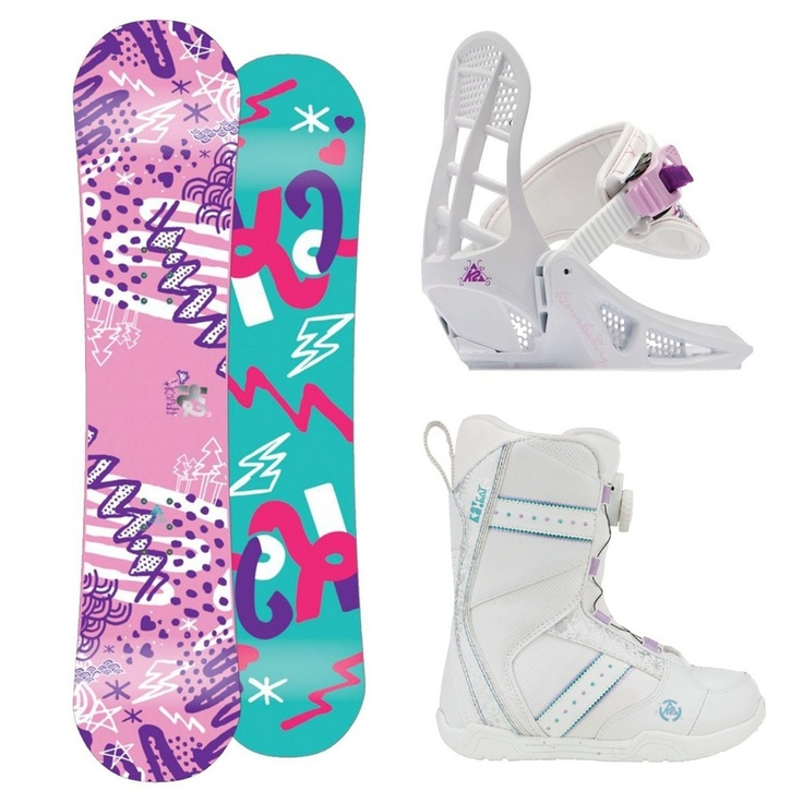 K2 Girls Grom Snowboard Package. Everything they need (Except a helmet) to get started on the slopes.