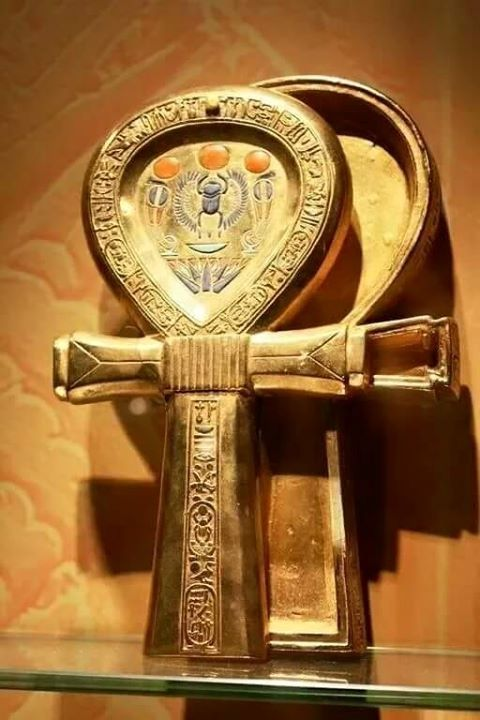 "Ankh: The ankh-shaped, gold-sheathed mirror case was taken from the tomb of Tutankhamun in southern Egypt's Valley of the Kings. The Ankh form, found in many ancient Egyptian tombs, is the Egyptian hieroglyphic character meaning ""life."""